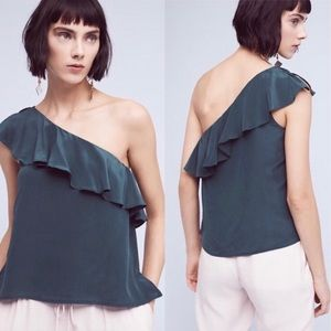 Maeve One-Shoulder Silk Ruffle Top